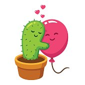 Cute cartoon cactus and balloon hug, vector drawing. Love hurts, funny Valentine's day illustration.