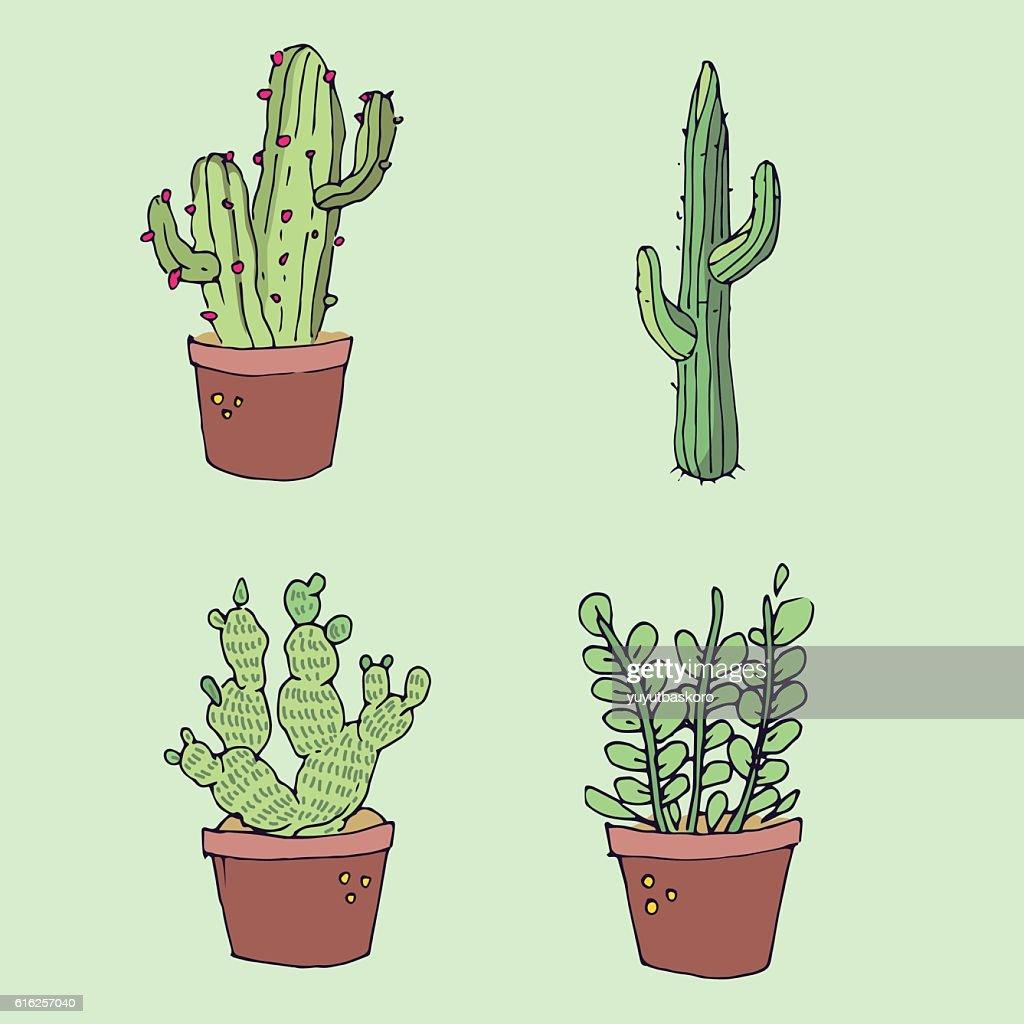 Cactus icon sets. Vector illustration : Vector Art