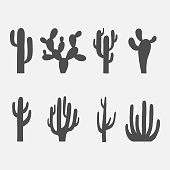 Cactus vector icon set isolated on a white background. Dark silhouettes of desert or wild cactus. Collection of cactuses mainly Mexico and the Arizona desert.