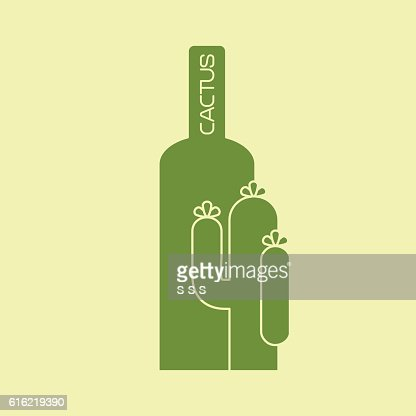 Cactus with bottle green logo design : Vektorgrafik