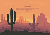 Cactuse and mountains in desert landscape, sunset in cannon, Background scene with stones and sand. Flat cartoon vector illustration