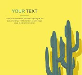 Cactuses Isolated on Yellow Background. Vector Illustration