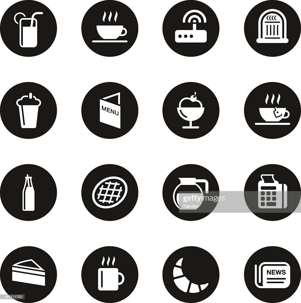 Cafe icons black circle series vector art getty images for Black circle vector