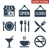 Cafe icons set on white background. Vector illustration