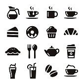 Cafe elements illustration coffe, tea and sweets