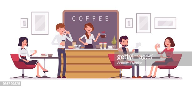 Cafe shop and people relaxing : stock vector