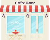 Cafe shop, storefront. Vector. Coffee house, vintage store front. Facade retail building with window. Retro street exterior architecture. Cartoon illustration isolated in flat design.