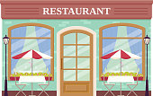 Restaurant facade, storefront. Vector. Outdoor cafe shop. Vintage store front, coffee house. Retail building with window. Retro street exterior architecture. Cartoon illustration isolated, flat design