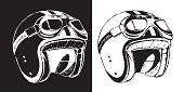 Cafe racer print t-shirt emblem. Motorcycle helmet with glasses, vintage old school style