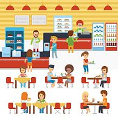 Cafeteria vector, people in canteen, people eating in the cafeteria. Catering restaurant and canteen freshly cooked warm meals service. Restaurant canteen infographic elements stock vector flat design