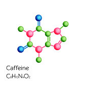 Caffeine structural chemical formula isolated on white background. Cartoon style vector illustration.
