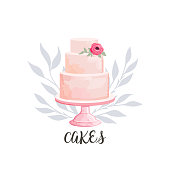 icon for cake shop and bakery with floral watercolor style elements. Vector illustration.