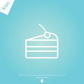 cake pie line icon