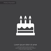 cake premium illustration icon, isolated, white on dark background, with text elements