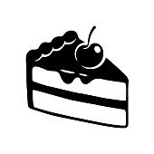 Hand drawn cake slice icon. Black and white cake with cherry and chocolate frosting, isolated vector illustration.