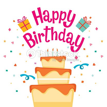 cake with happy birthday letter vector art