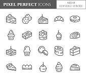 Cakes and cookies theme pixel perfect thin line icons. Set of elements of pie, brownie, biscuit, tiramisu, roll and other dessert related pictograms. Vector illustration. 48x48 pixels. Editable stroke