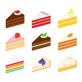 Different cake slices set. Layered sponge cakes with fruit and chocolate, cheesecake, pie. Isolated vector illustration.
