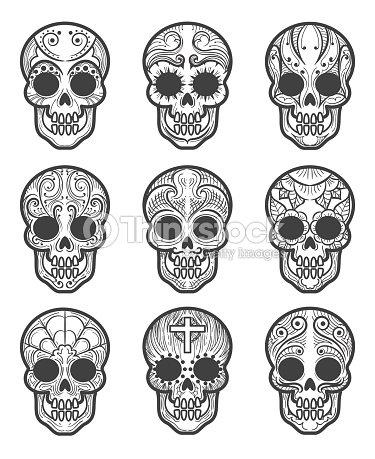 Calavera Oder Zucker Schadel Tattoo Set Vektorgrafik Thinkstock