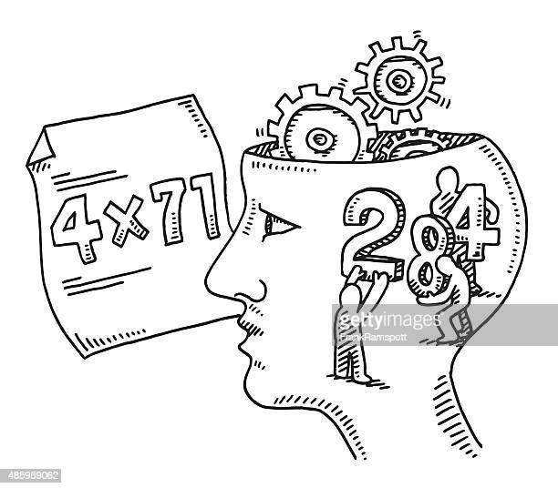 Calculation Brain Task Concept Drawing