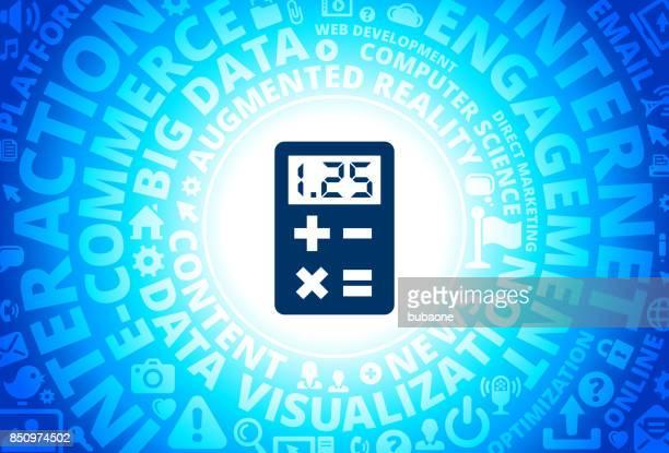Calculator Icon on Internet Modern Technology Words Background