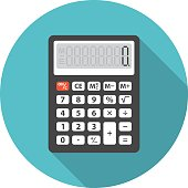 Calculator icon with long shadow. Flat design style. Round icon. Calculator silhouette. Simple circle icon. Modern flat icon in stylish colors. Web site page and mobile app design vector element.