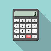 Calculator with long diagonal shadow, flat design, vector eps10 illustration
