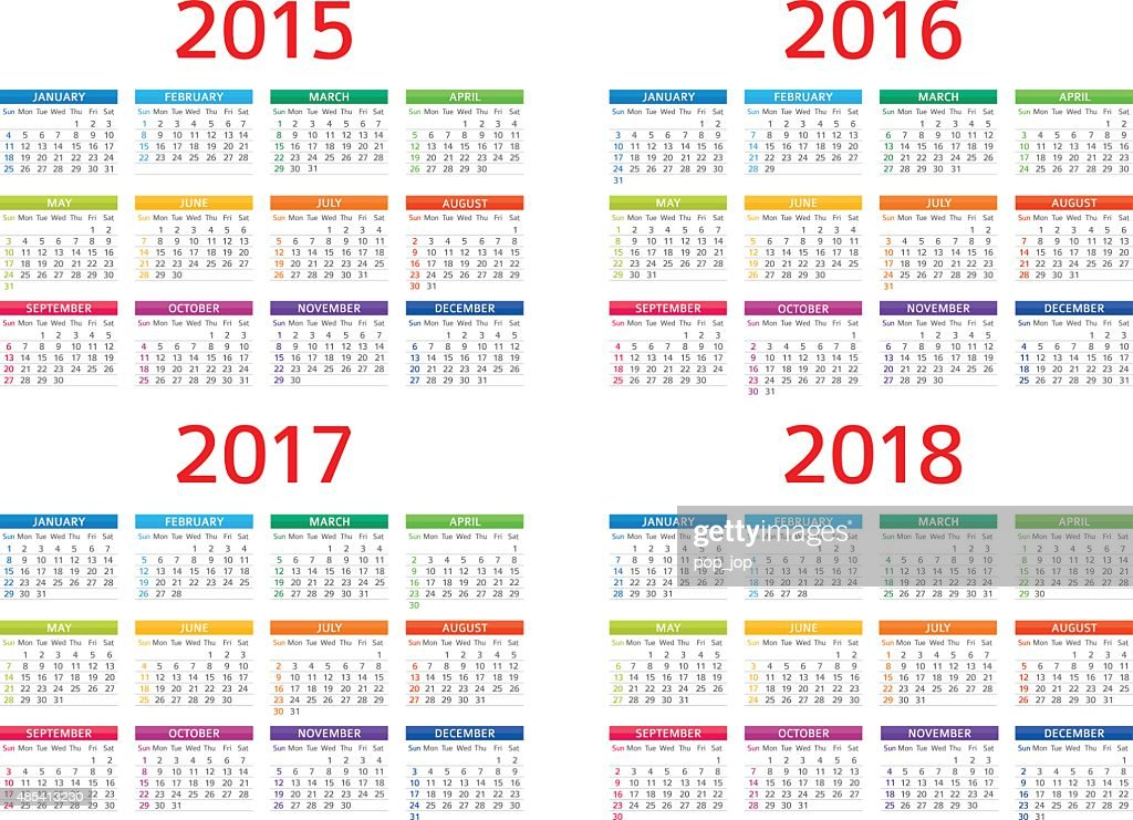 Calendar 2015 2016 2017 208 Illustration Vector Art | Getty Images