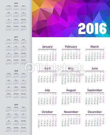 Calendario Anno 2015.Calendario 20152019 Anno Settimana A Partire Dal Lunedi Arte