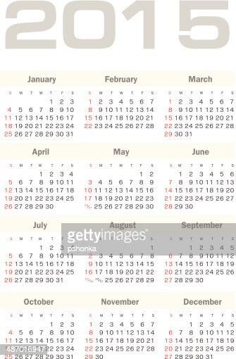 Calendar 2015 : Vector Art