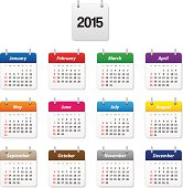 Calendar 2015 in various colors - eps10 - This vector contains transparency.