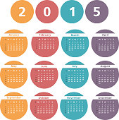 2015 Calendar in circles, vector eps10 illustration