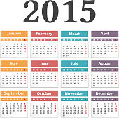 2015 calendar on white background, vector eps10 illustration