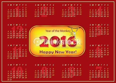 calendar 2016 chinese new year of the monkey vector art - Chinese New Year Calendar
