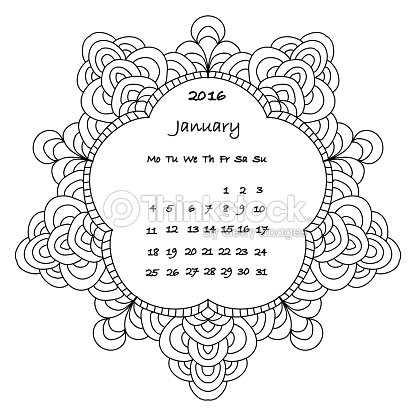 Calendar 2016 january coloring page vector art