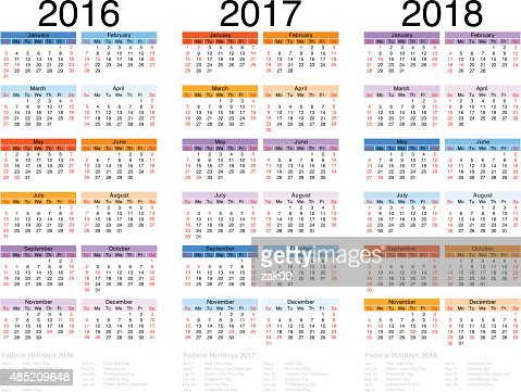 Calendar 201620172018 Vector Art   Thinkstock