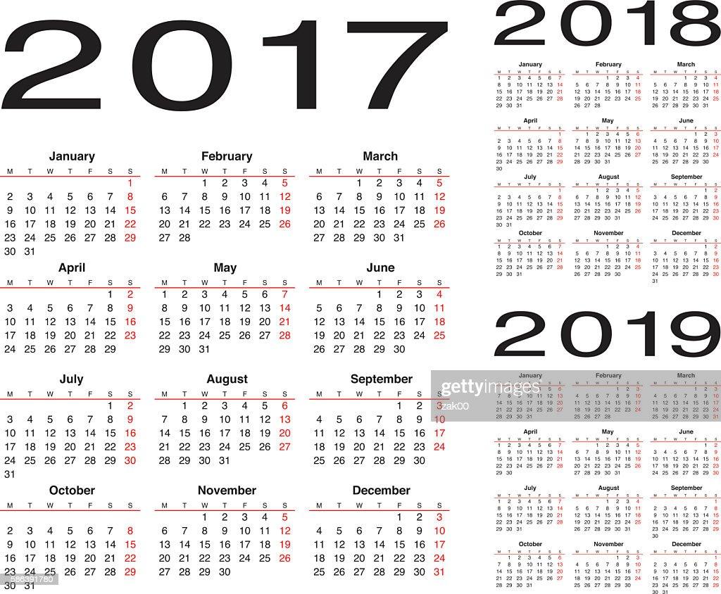 calendar for 2019