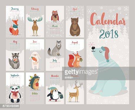 Calendar 2018. Cute monthly calendar with forest animals. : stock vector