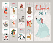 Calendar 2018. Cute monthly calendar with forest animals. Vector illustration.
