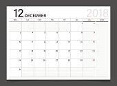 Calendar 2018 December week start on Monday. Calendar planner corporate design template vector.