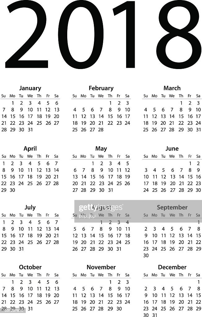 Calendar 2017 2016 2018 Illustration Vector Art | Getty Images