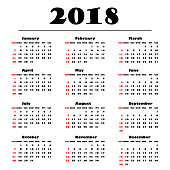 Calendar 2018 on a white  background. Vector illustration template for 2018 years. Black and white