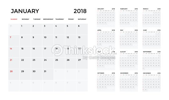 Calendar 2018 Template Calendar Planning Week Vector Vector Art