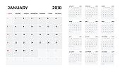 Calendar 2018 template. Calendar planning week. vector