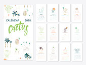 Calendar 2018.Calendar with succulents and cactus plants.