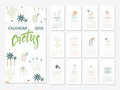 Calendar 2018.Calendar with succulents and cactus plants.