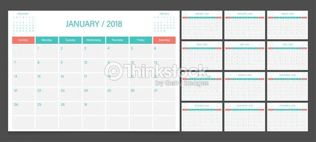 カレンダーの日曜日 2018 週開始カレンダー プランナー企業デザイン