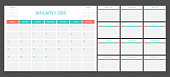 Calendar 2018 week start on Sunday. Calendar planner corporate design template.