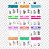 Calendar 2018 year in simple style. Calendar planner design template. Week starts on Sunday. Business vector illustration.