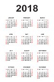 Calendar 2018 year vector design template. Simple 2018 year calendar.  Vector circle calendar 2018. Week starts from Sunday and ends  with Saturday. Font Arial sans serif bold  style on gray backgroun
